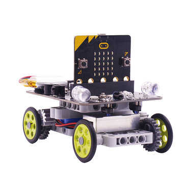 Coupone for YahBoom Micro:bit DIY 9 In 1 Programmable Block Building Tracking Obstacle Avoidance Smart RC Robot Kit