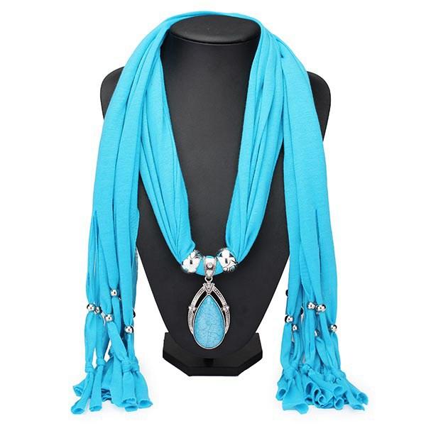 Water Drop Gem Crystal Pendant Tassel Scarf Necklace Wo