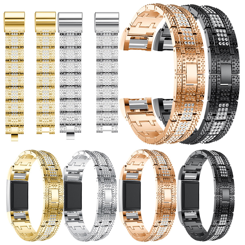 Crystal Watch Band Luxury Alloy Diamante Metal Strap Re
