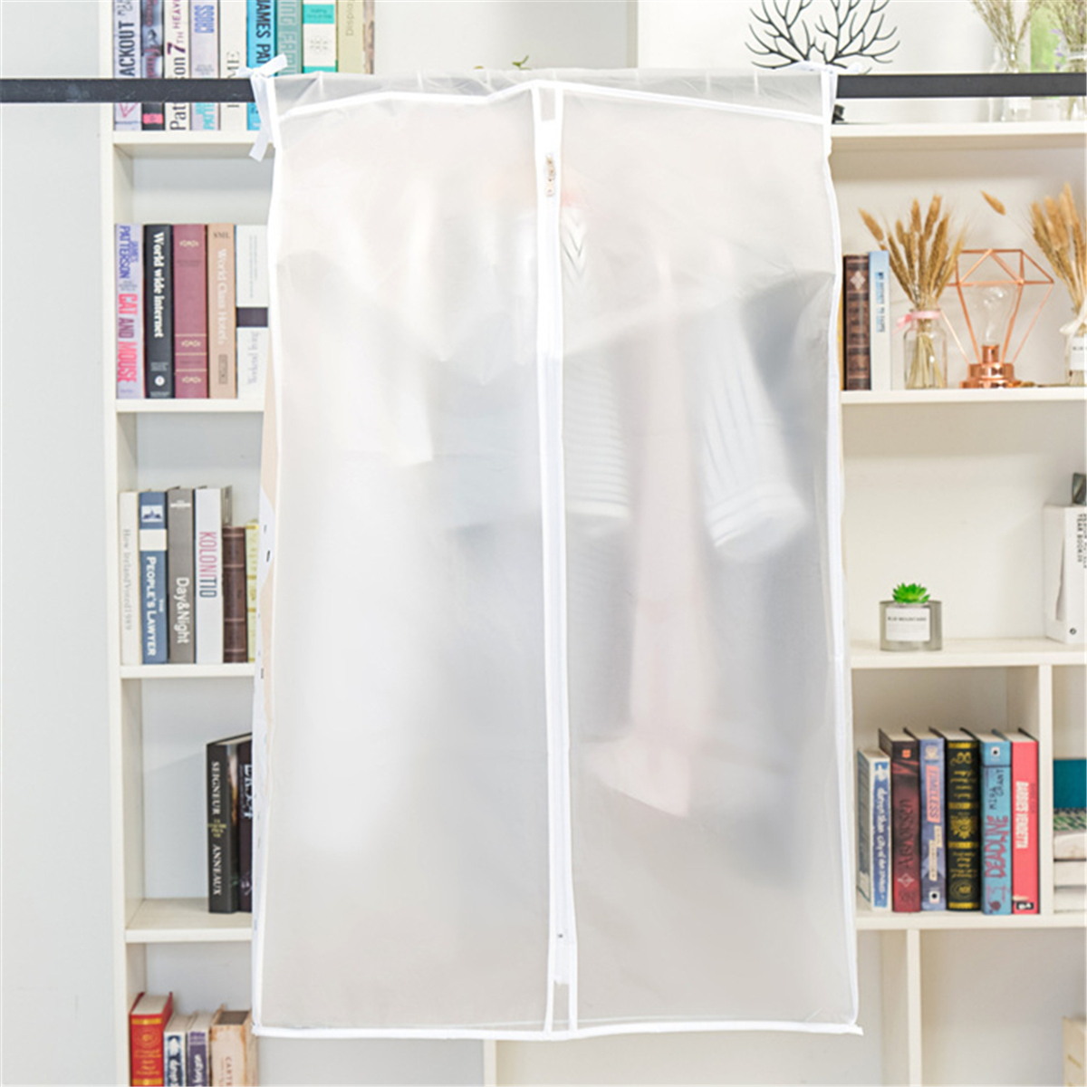 Clothing Dust Cover Single Rail Garment Suit Clothes Cover Hanging Rack Zipper Storage