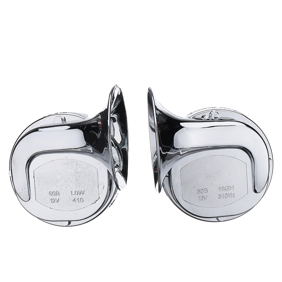 Pair 12V 110dB Chrome Dual Tone Air Snail Horn Fo