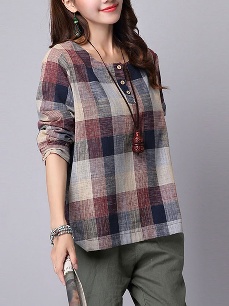S-5XL Casual Women Plaid Prinred Button Shirts
