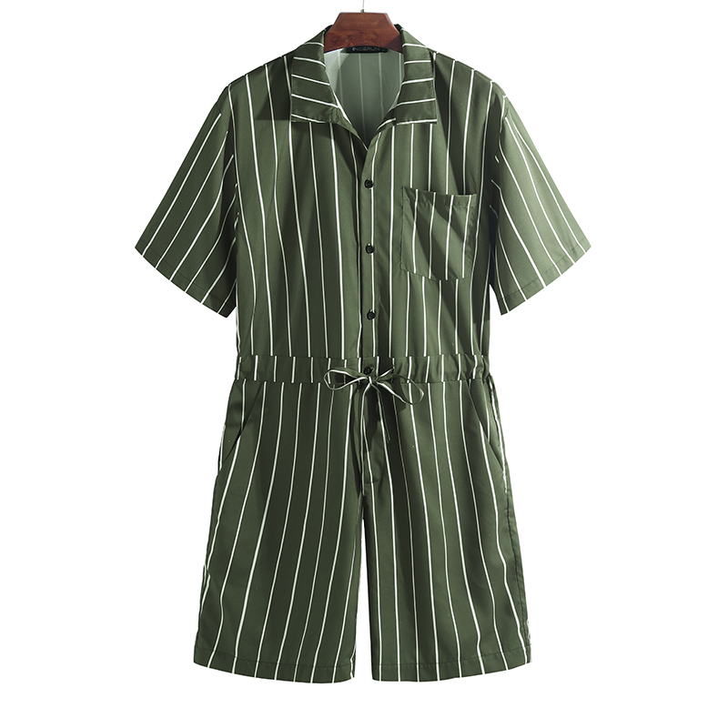 Mens Vintage Striped Rompers Set Short Sleeve Onesie Fashion Jumpsuit