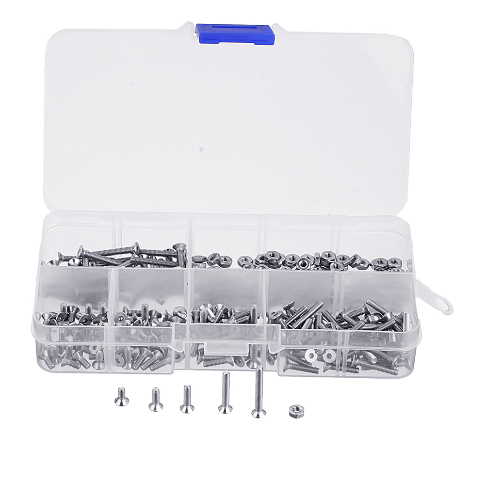 Suleve M2.5SH2 250Pcs M2.5 Hex Socket Flat Head Screw 304 Stainless Steel Allen Bolt Assortment
