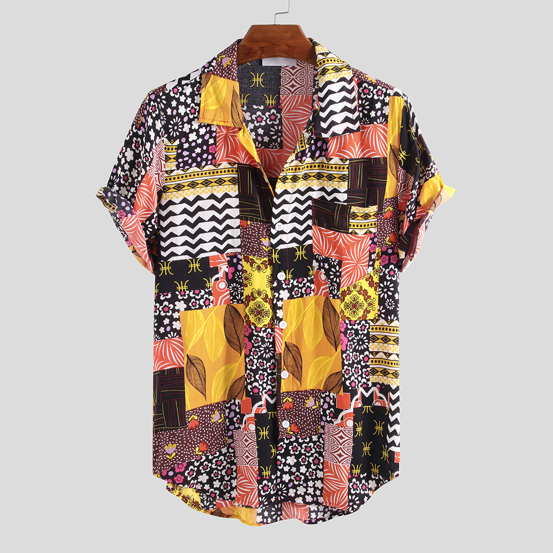 Mens Summer Ethnic Printed Colorful Short Sleeve Casual
