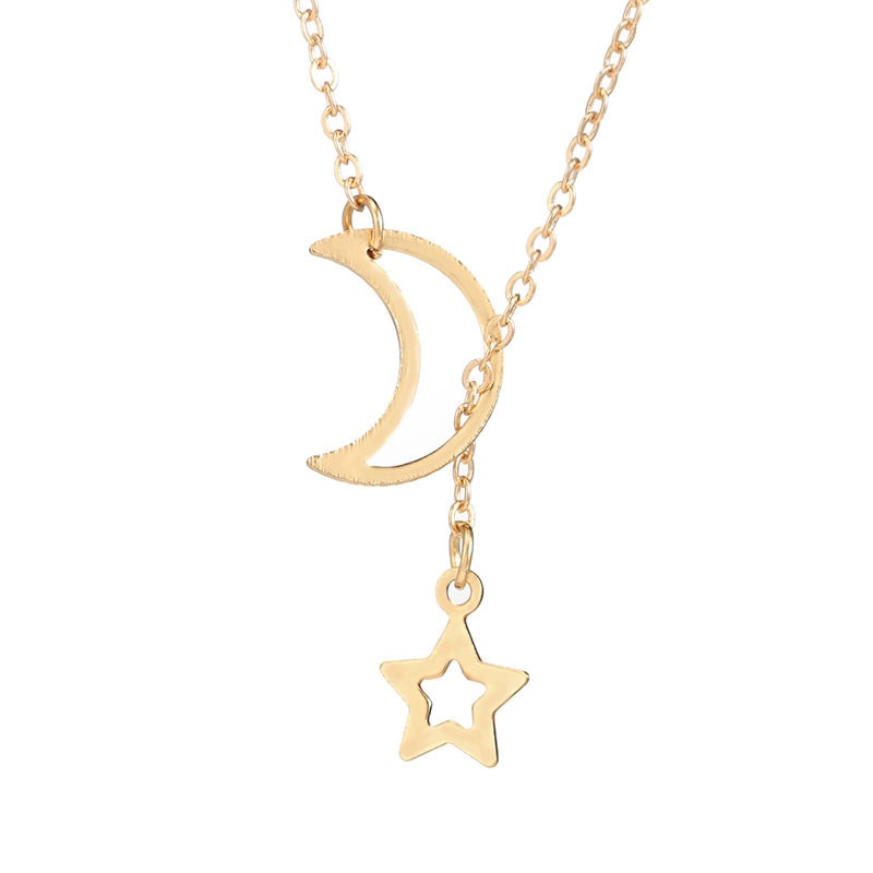 Fashion Hollow Star Moon Pendant Long Necklace Simple M