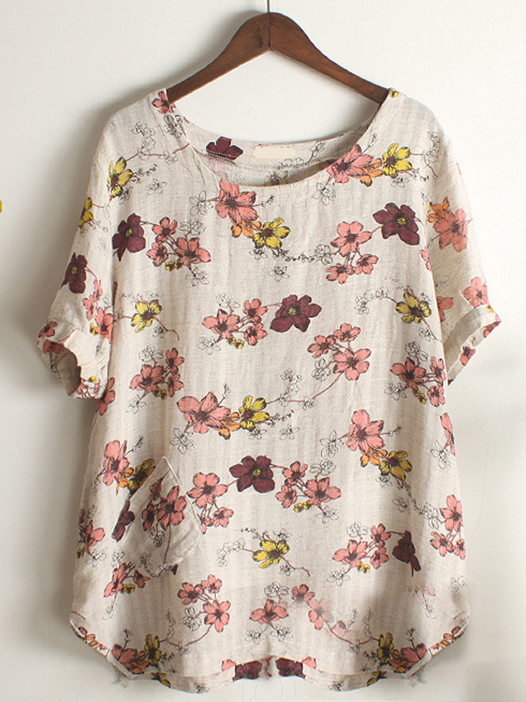 Casual Women Floral Printed Short Sleeve Pocket T-Shirts