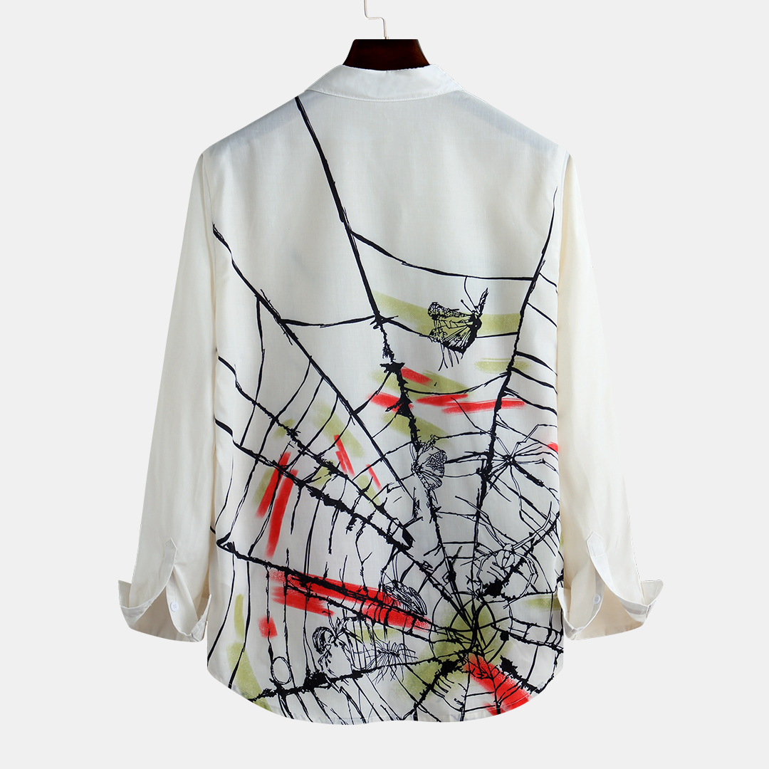 Men Colorful Spider Web Long Sleeve Shirts