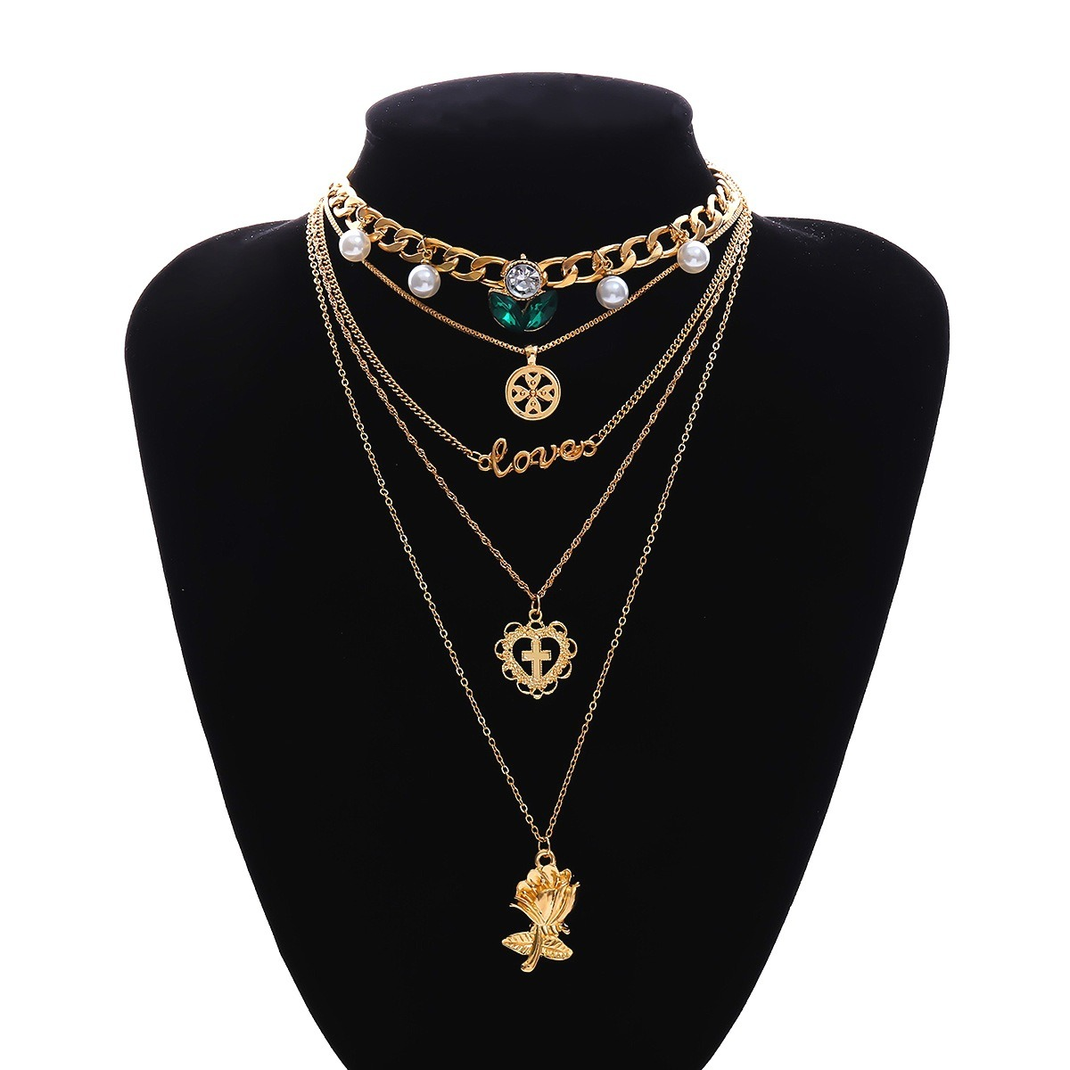 Trendy Gold Multi-layer Necklace Metal Alloy Long Neckl