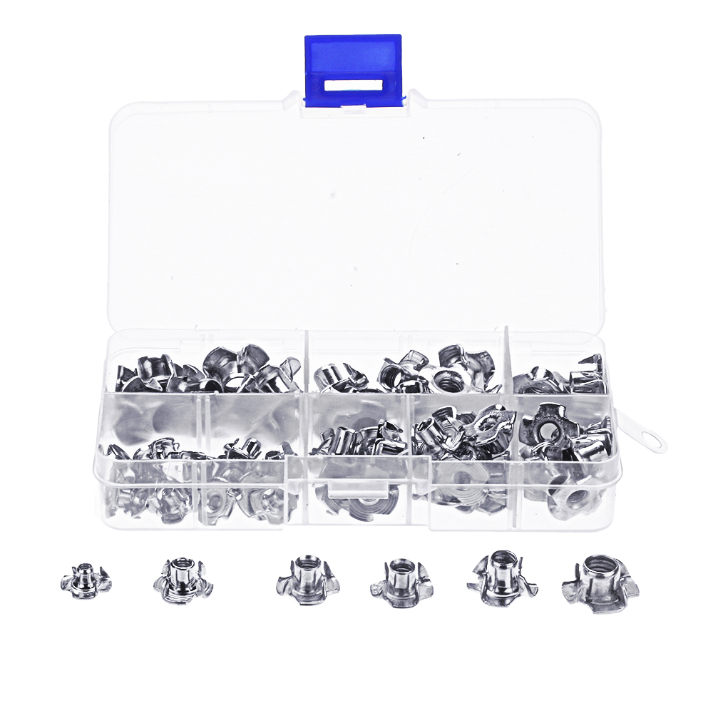 Suleve 80Pcs Zinc Plated Steel T-Nut 4 Pronged Tee Blind Insert Nuts Assortment M3/M4/M5/M6/M8
