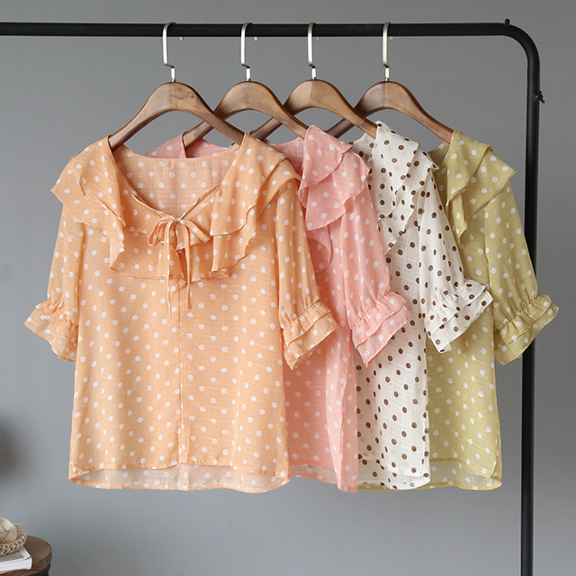 [O'Malley] Mori Sweet Small Fresh Double Lotus Leaf Wave Point Pullover Shirt Shirt Chiffon Shirt 1346