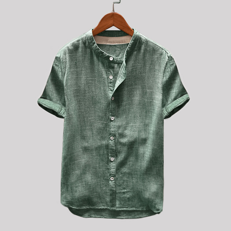 Mens Vintage Solid Color Single-breasted Stand Collar S