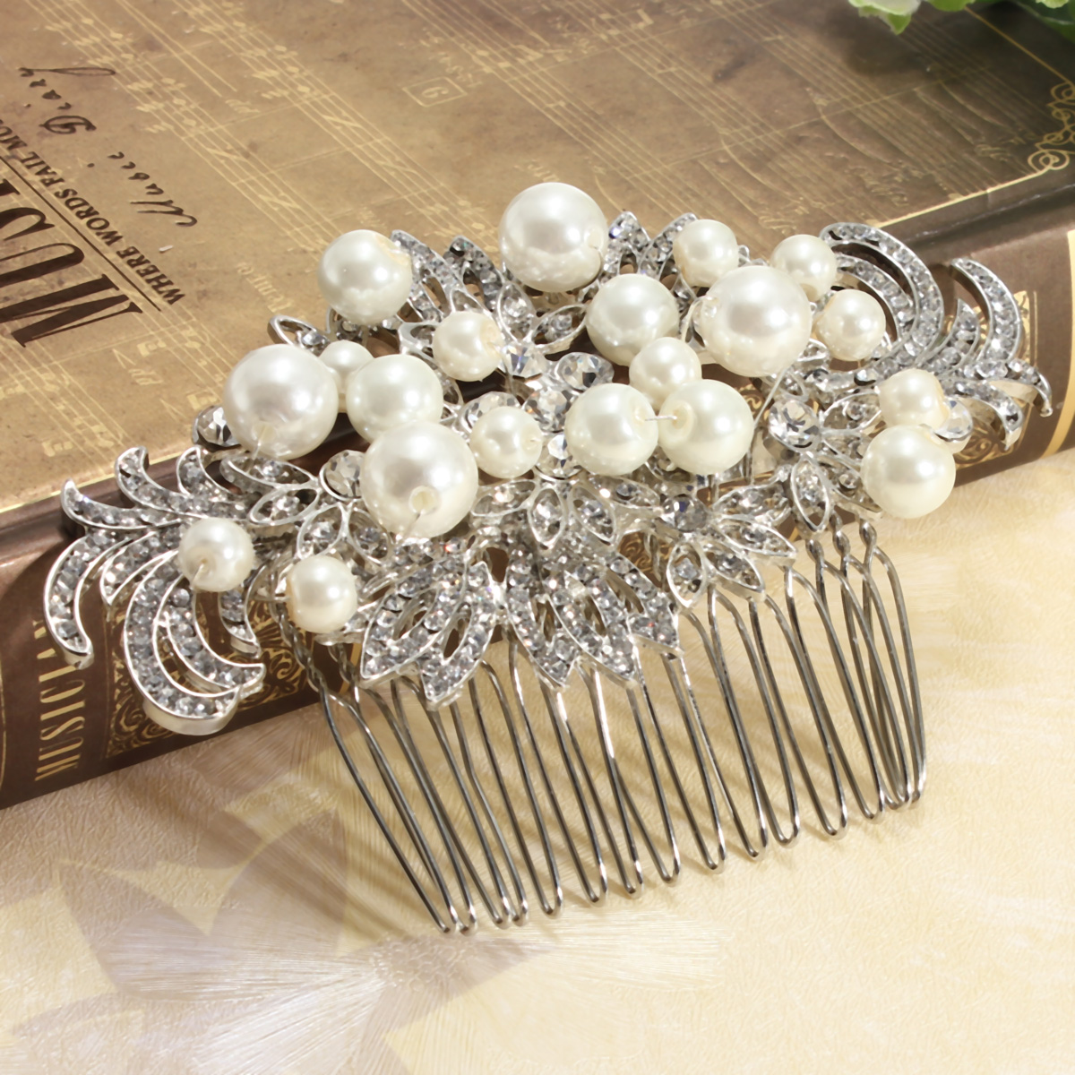 Bridal Artificial Pearl Crystal Rhinestone Flowers Diamante Hair Clip Comb Bride Wedding Headpiece