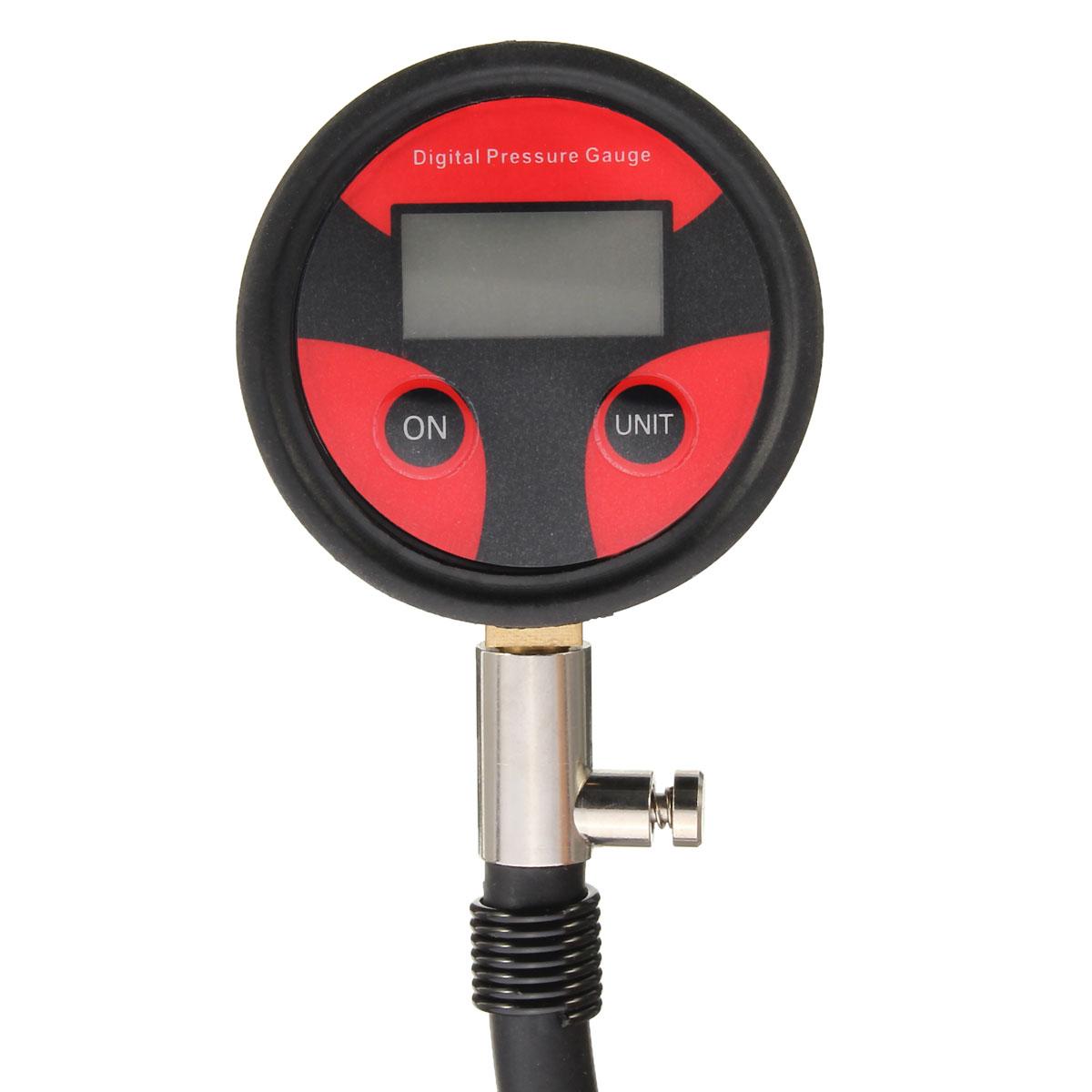 0-200PSI Metal Digital Tire LCD Manometer Air Pressure Gauge PSI BAR KPA KGF/cm