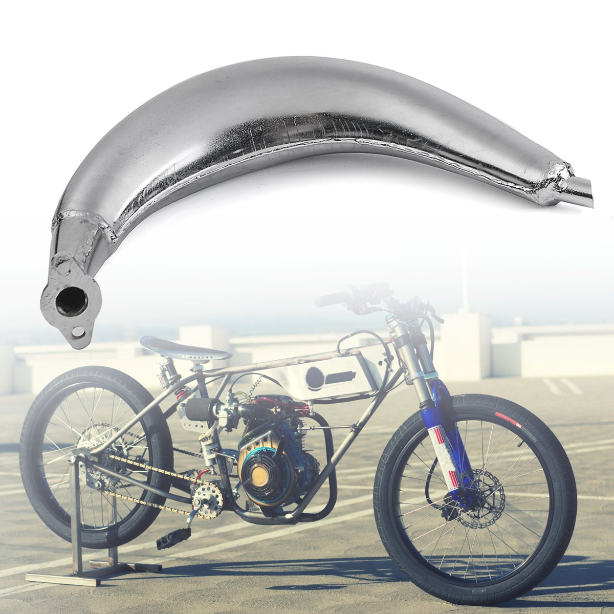 Chrome Muffler Exhaust Pipe For 80cc 66cc 49cc Motorize