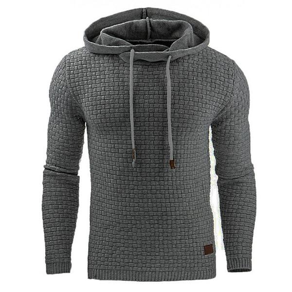 Fashion Men's Warm Jacquard Hooded Sweatshirts Casual S
