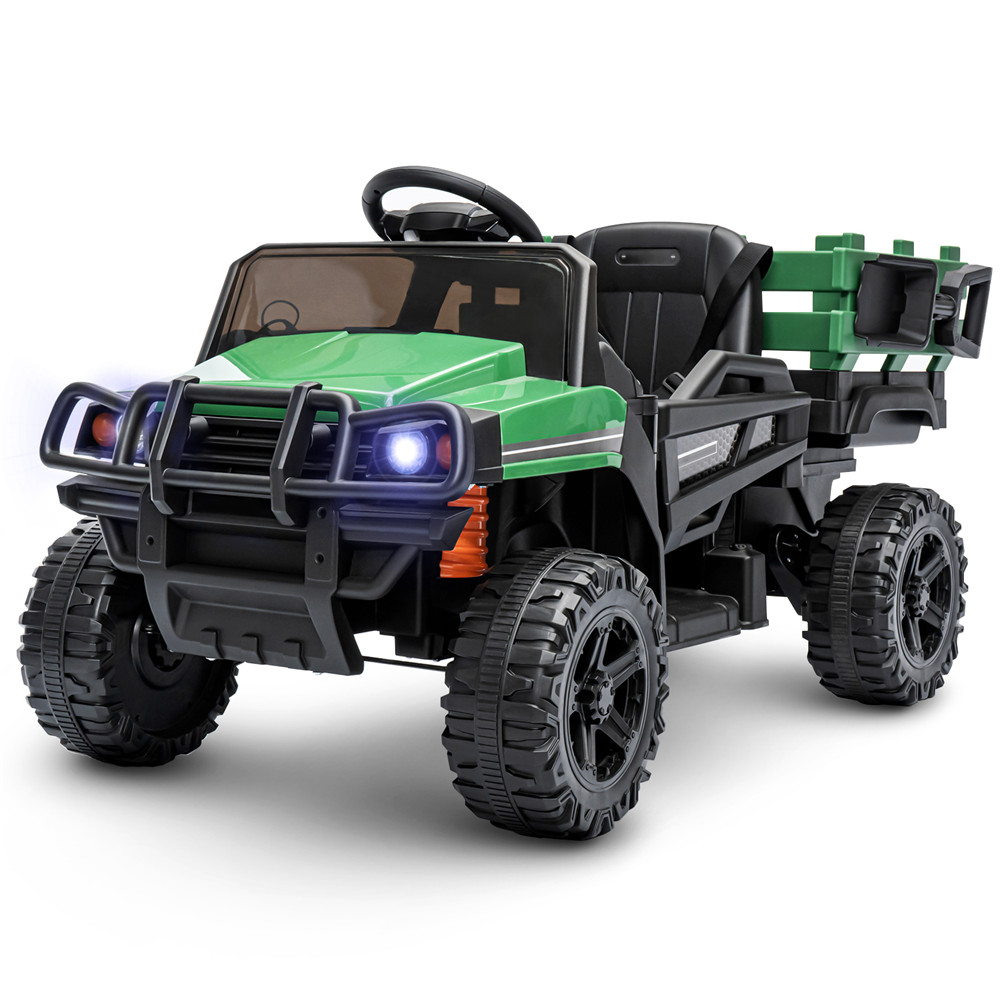 KinSo 12V Electric Kids Ride On Car Truck w/ Remote Control Trailer MP3/USB for Music LED Lights Horn 3 Speed Battery Powered Toys Gifts Vehicles 1