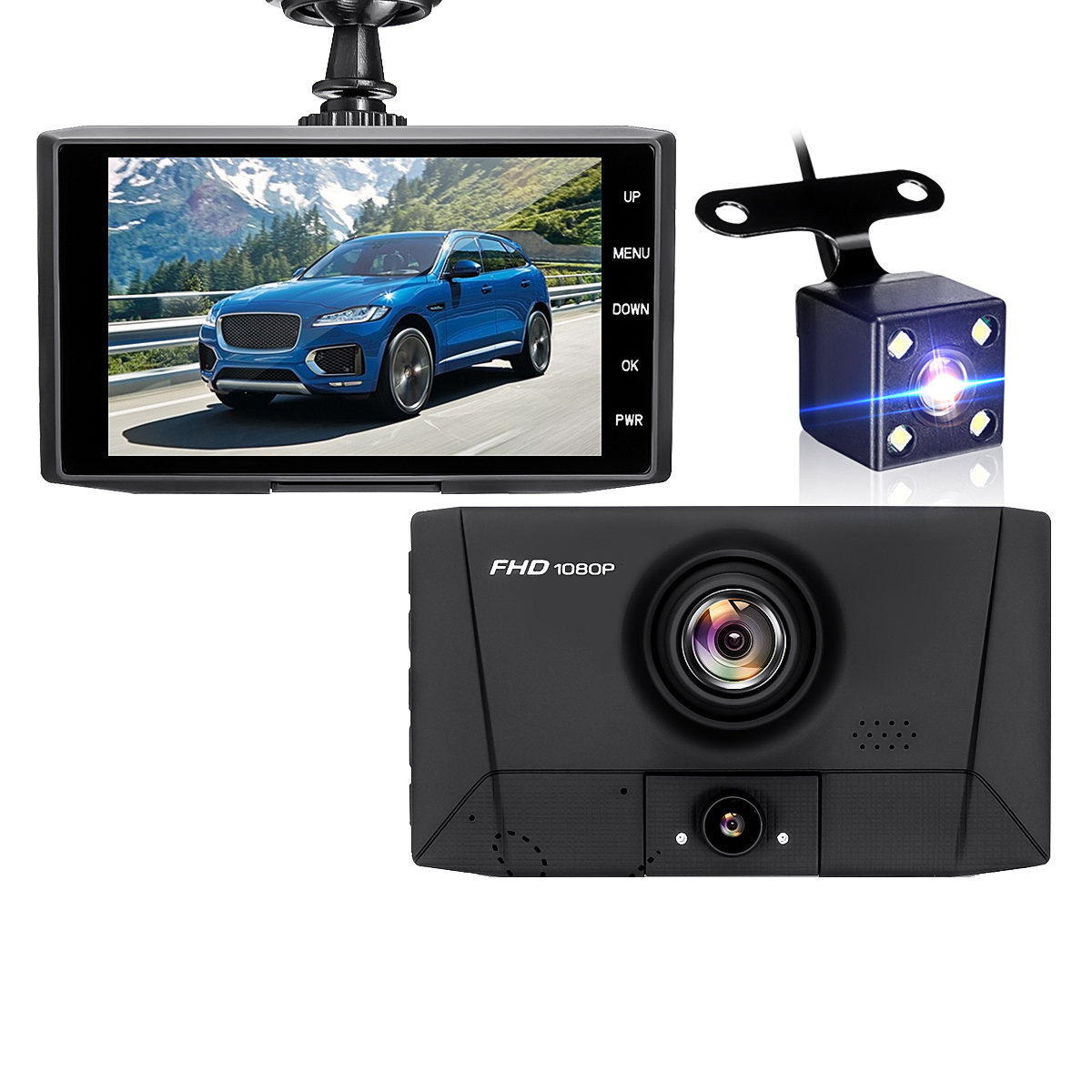 1080P 3 Lens Auto Loop Recording Parking Monitori