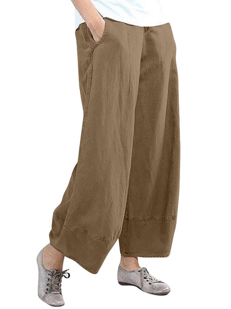 Pure Color Elastic Waist Casual Pocket Pants