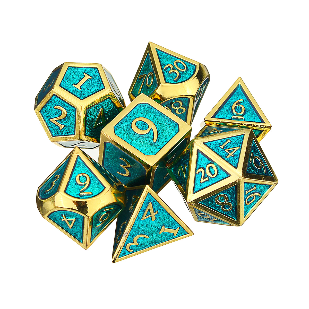 7pcs Embossed Heavy Metal Polyhedral Dices DnD RPG SET w/ Bag