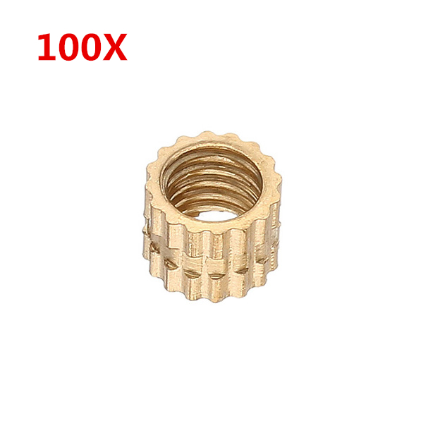 100Pcs M4 x 4mm Brass Knurled Nuts Female Thread Round Insert Embedded Injection Molding Nuts