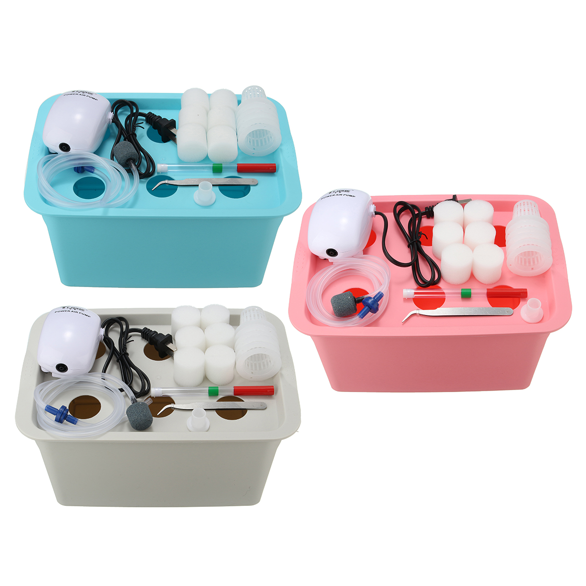 220V Hydroponic Grow Box 6 Holes DWC Hydroponic System Kit Indoor Water Planting Container 3 Colors
