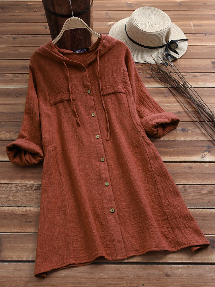Women Casual Cotton Solid Color Drawstring Hooded Long