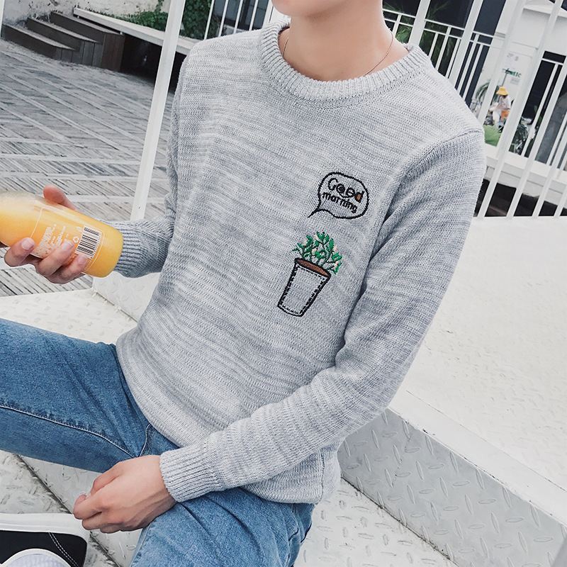 Men's Casual O-Neck Sweater Embroidery Warm Long Sleeve Pullovers