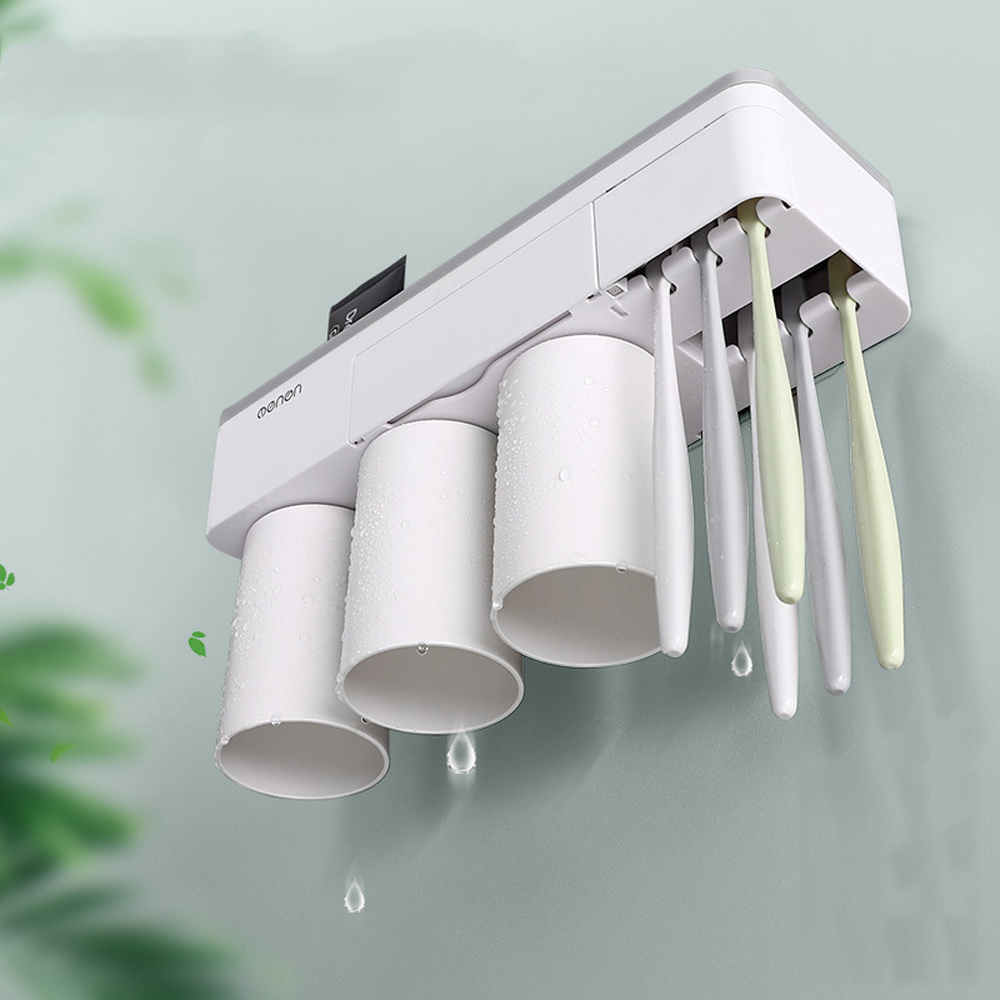 Bakeey Automatic 2/3Cup Magnetic Toothbrush Holder Cups Wall Mount Stand Bathroom Tools No Punching