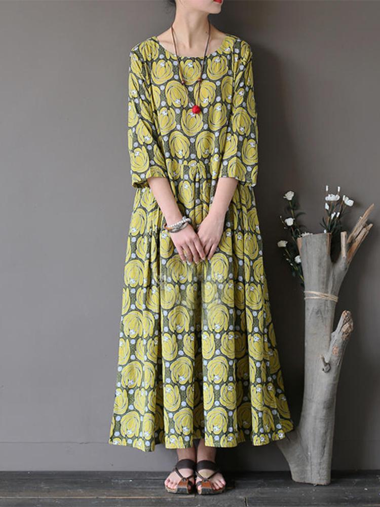Vintage Flower Printed Half Sleeves O-neck Dress