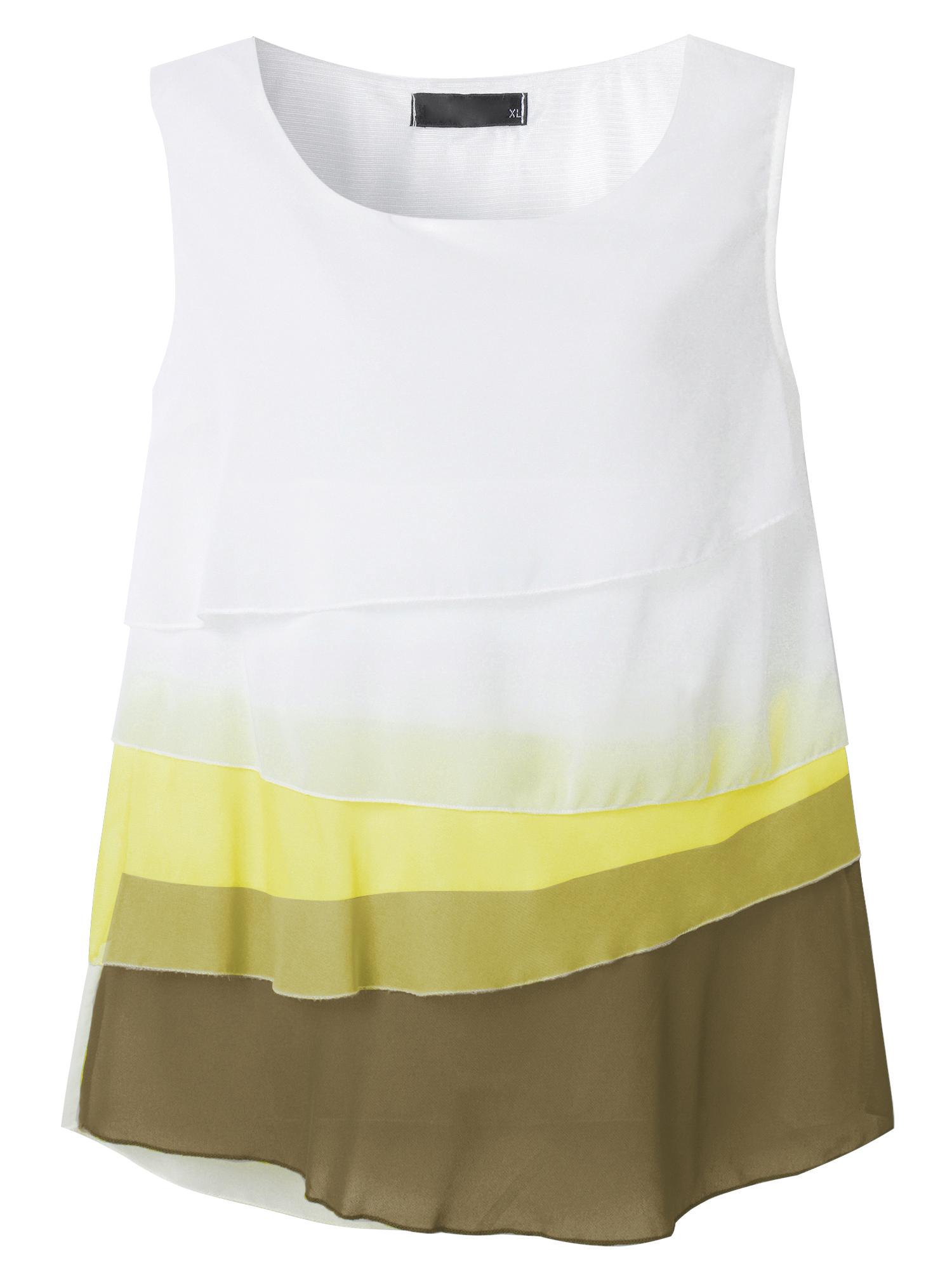 Zanzea Ladies Sleeveless Multi-layered Bright Color Chiffon Tank Tops