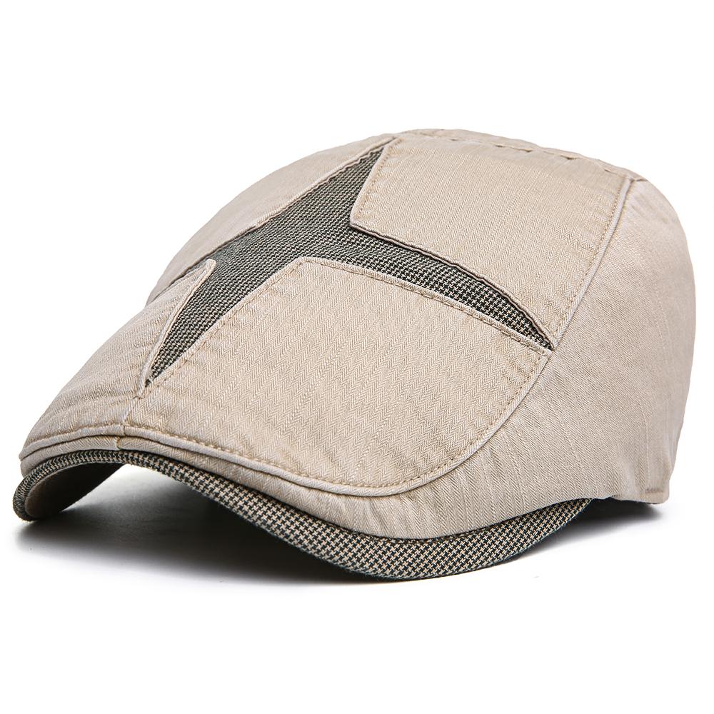 Men Women Cotton Adjustable Patchwork Painter Beret Cap