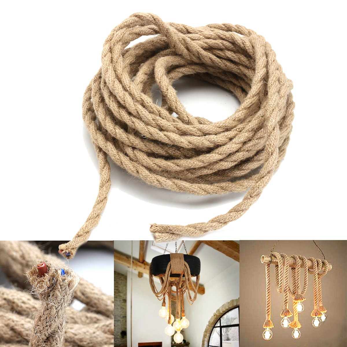 Other Tools New 10m 2x0 75mm Hemp Rope Power Cable Wire