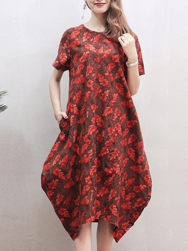 Leaf Printed Loose O-neck Short Sleeve Baggy Asymmetric Dresses