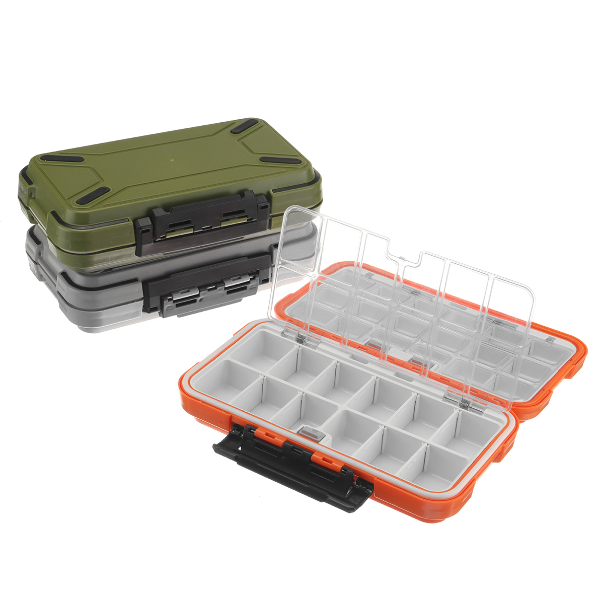 Dual-Layer Plastic Fishing Lure Fish Hook Bait Storage Tackle Box Case Organizer
