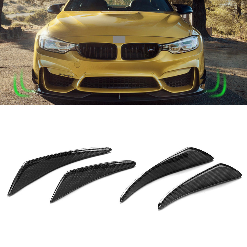 Real Carbon Fiber Side Fins Canards Car Stickers