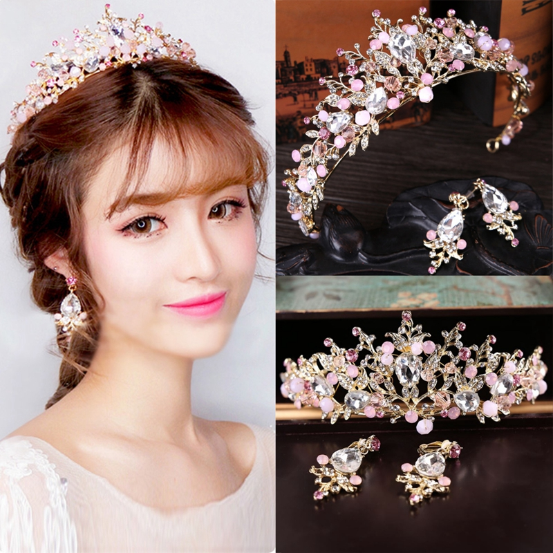 Pink Wedding Bridal Jewelry Crystal Tiara Crown Headban