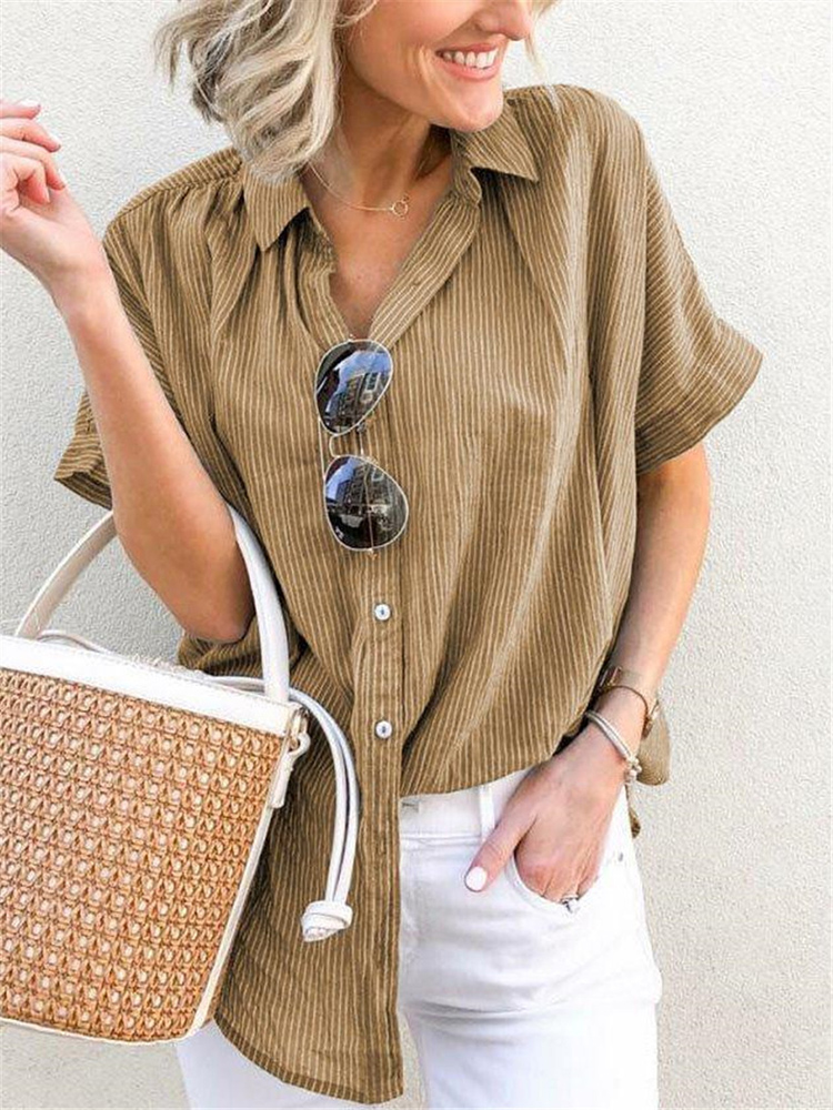 Women Casual Striped Button Down Short Sleeve Blouse
