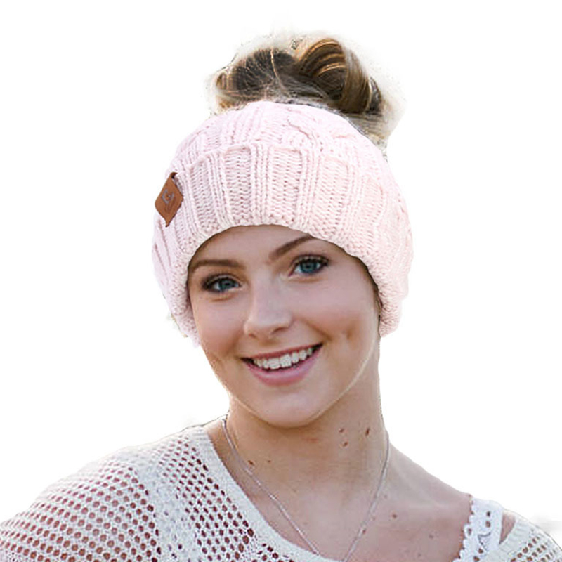 Middle-aged Outdoor Thicken Earmuffs Ponytail Beanie Caps Women Ski Knit Hat