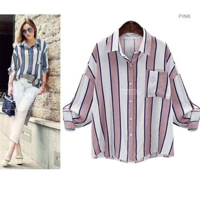 2017 Europe And The United States New Loose Large Size Lapel Striped Shirt Long-sleeved Shirt