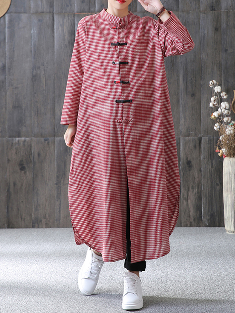 Women Plaid Plate Buckle Long Sleeve Casual Loose Chine