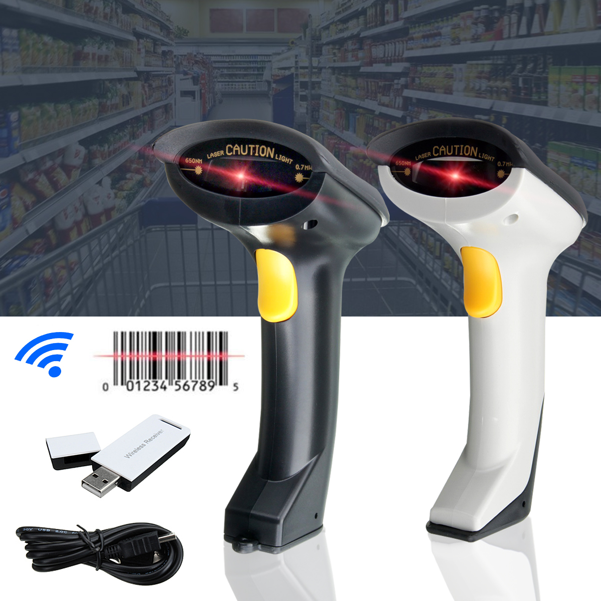 LEORY Portable Wireless Barcode Scanner Handheld USB Laser Scan 2.4Ghz Bar Code Reader