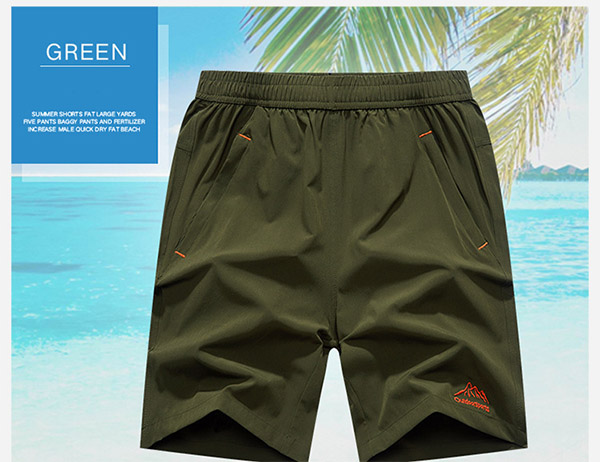 Summer Mens Casual Sports Shorts Elastic Waist Large Size Pure Color Beach Shorts