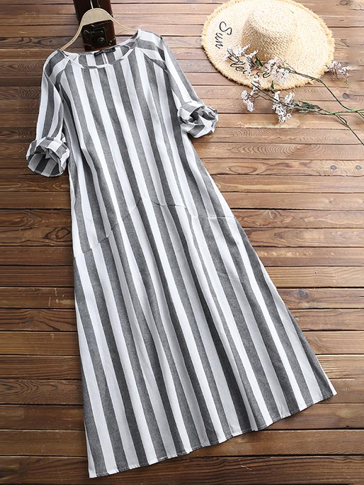 Women 3/4 Sleeve O Neck Casual Loose Stripe Long Maxi D