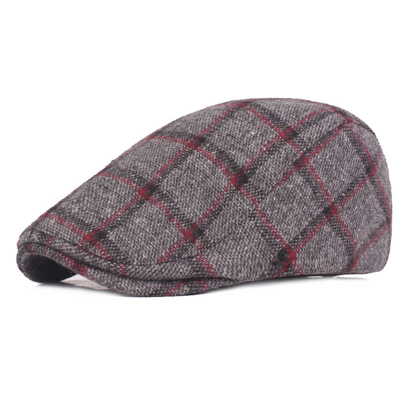Mens Womens Winter Woolen Plaid Painter Beret Caps Outd