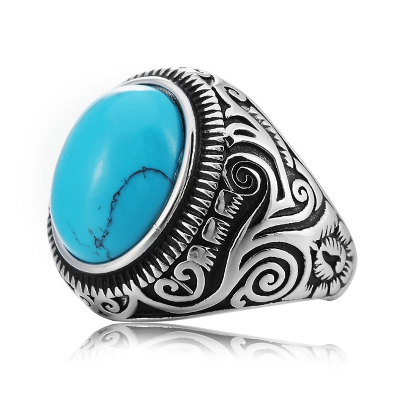 REZEX Vintage Pattern Blue Black Turquoise Finger Rings