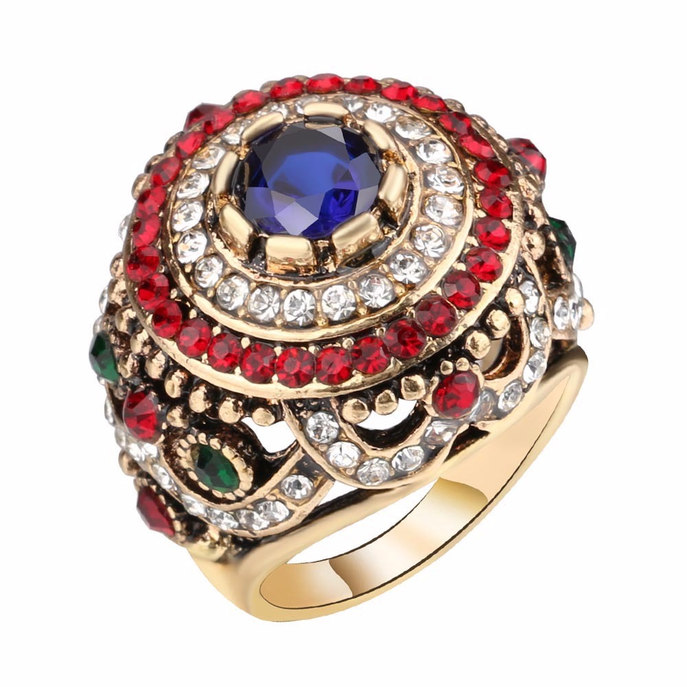 Bohemian Gold Plated Finger Ring Opal Blue Resin Crysta