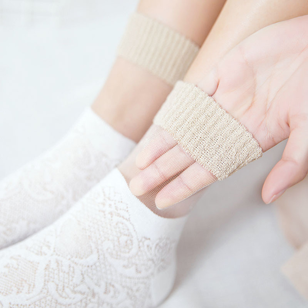 Fashion Lace Cottton Ankle Socks Cool Skid Resistant Breathable Deodorization Sock for Women
