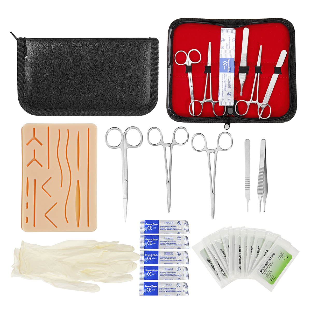 25 In 1 Medical Skin Suture Surgical Training Kit Silicone Pad Needle Scissors Tools Kit