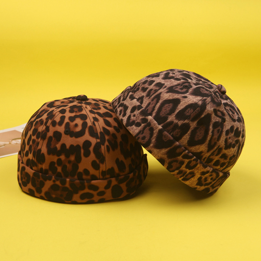 Mens Adjustable Leopard Brimless Hats Vogue Retro Skull